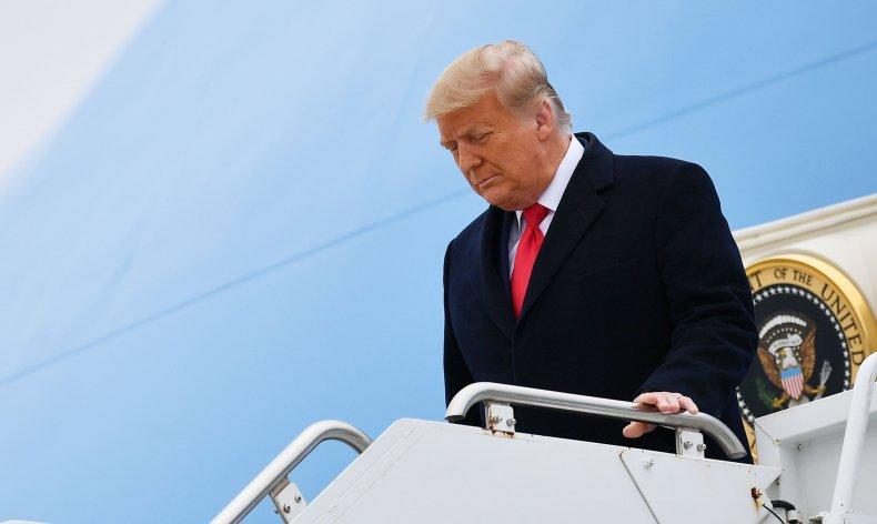 Trump exits Air Force One Texas visit
