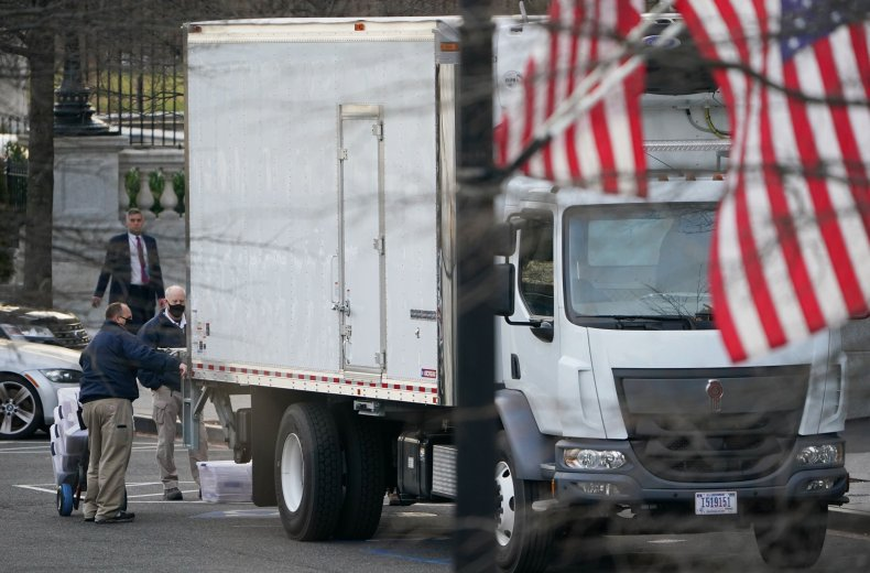 Truck being loaded at the White House