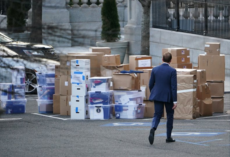 Boxes stacked up outside the White House