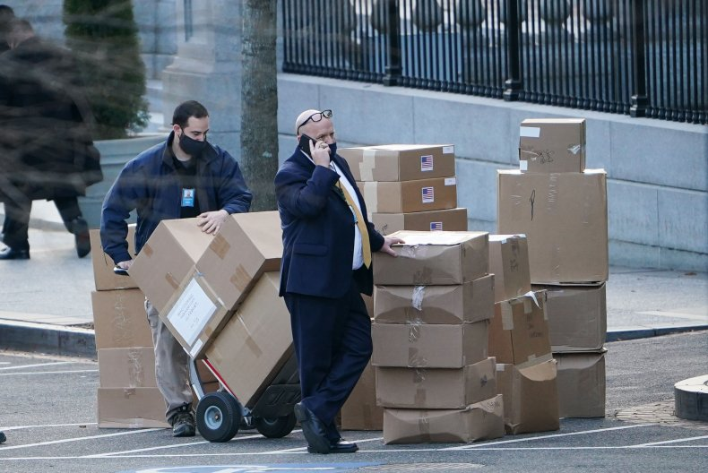 Boxes are stacked near the White House