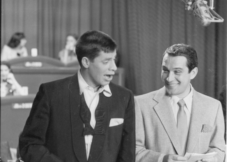 Jerry Lewis holds his first telethon