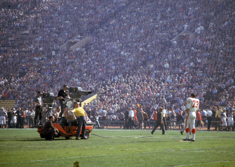 The first Super Bowl hits airwaves