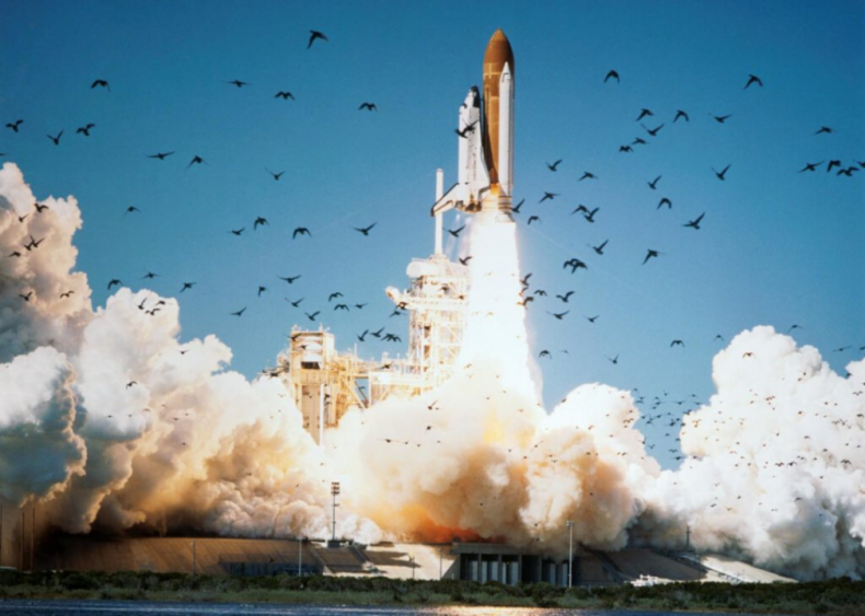 The Challenger Space Shuttle explodes