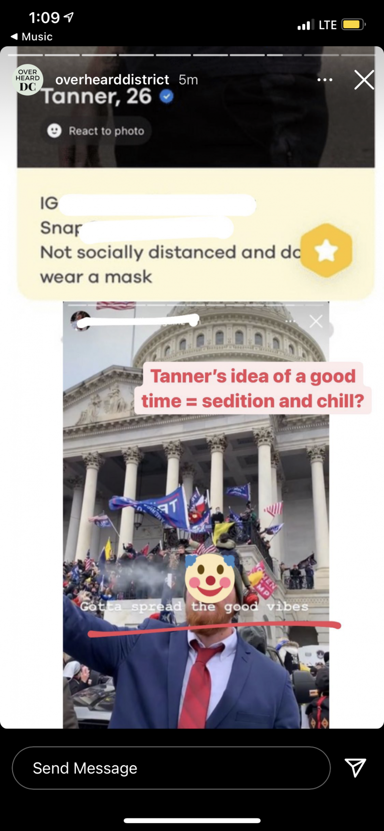 Bumble Profile Screenshot OverheardDistrict Sedition and Chill