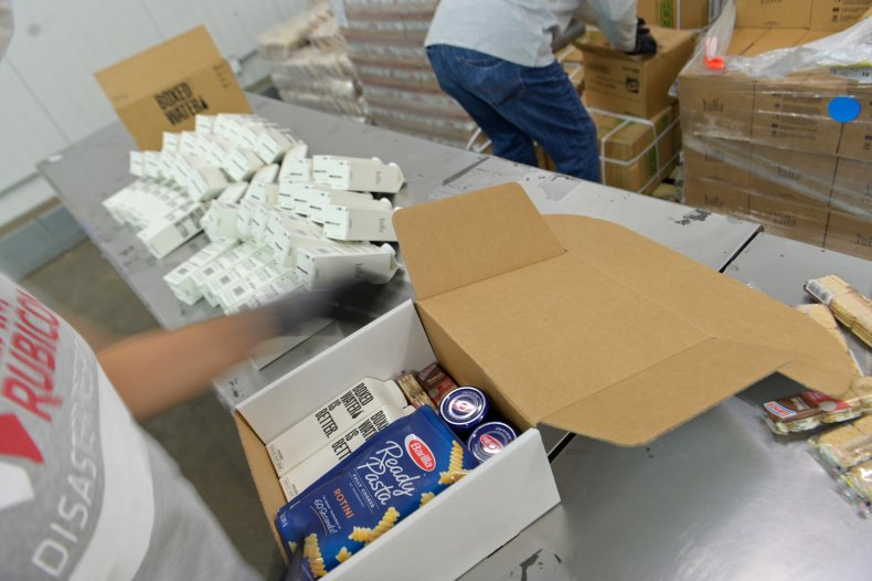 Food bank box being packed in NewYork