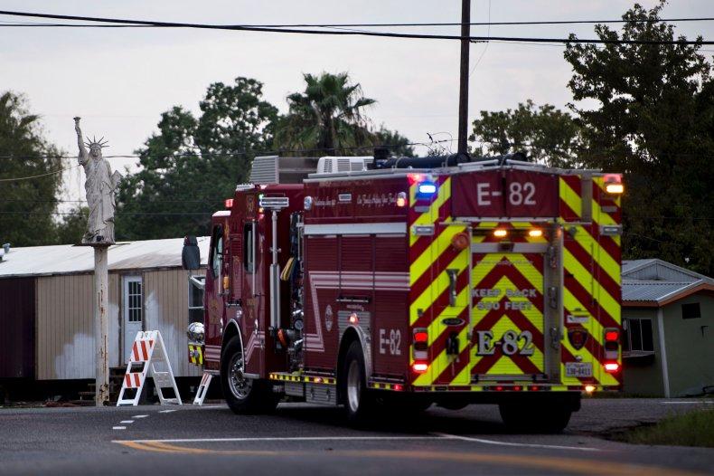 A Firetruck Waits at a Roadblock