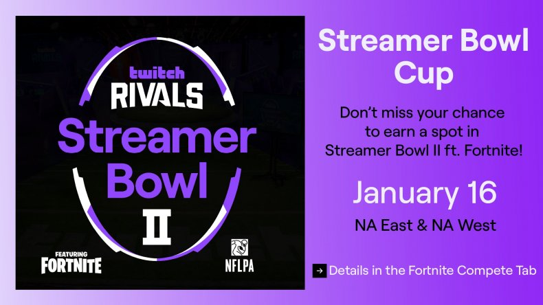 fortnite streamer bowl 2 cup start time