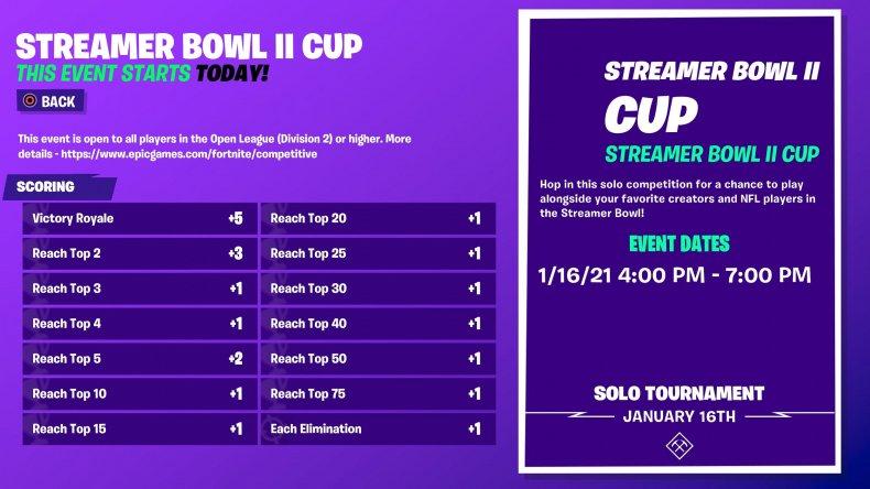 fortnite streamer bowl 2 cup format