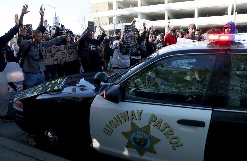 California Highway Patrol car Sacramento protests 2018