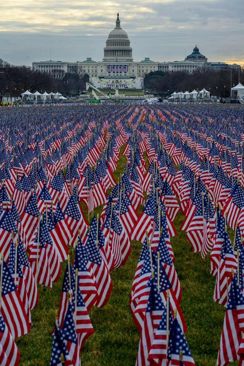 National Mall inauguration flags