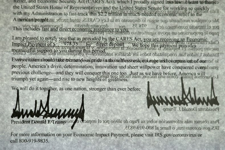 Trump's Signature on a Stimulus Check Letter