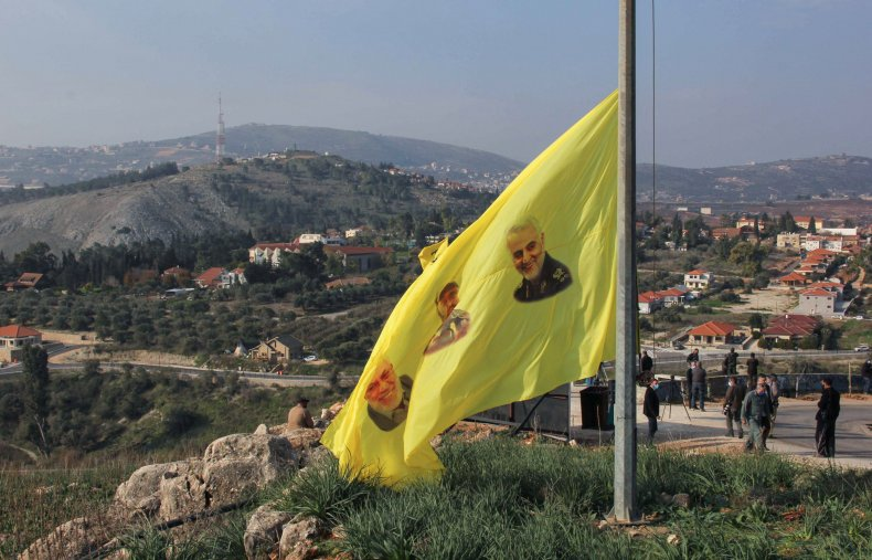 hezbollah, soleimani, flag, border, lebanon, israel