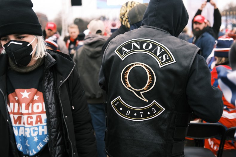 QAnon slogan at rally