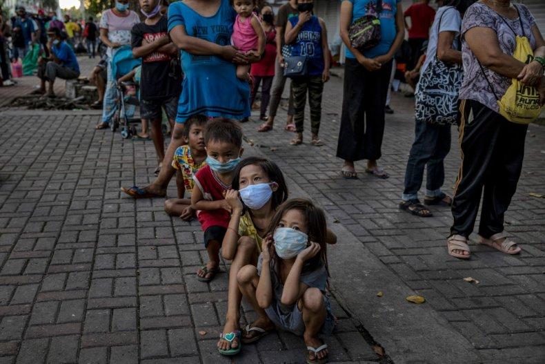 Children at food bank in Manila, Philippines