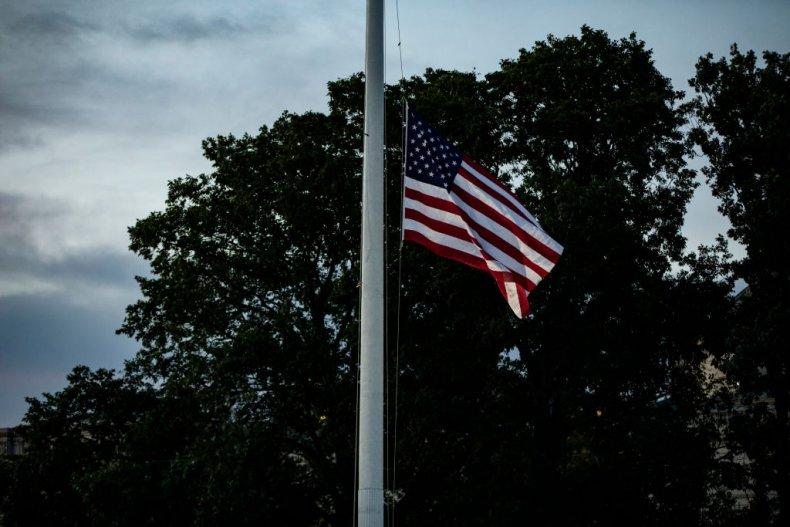 American flag flies