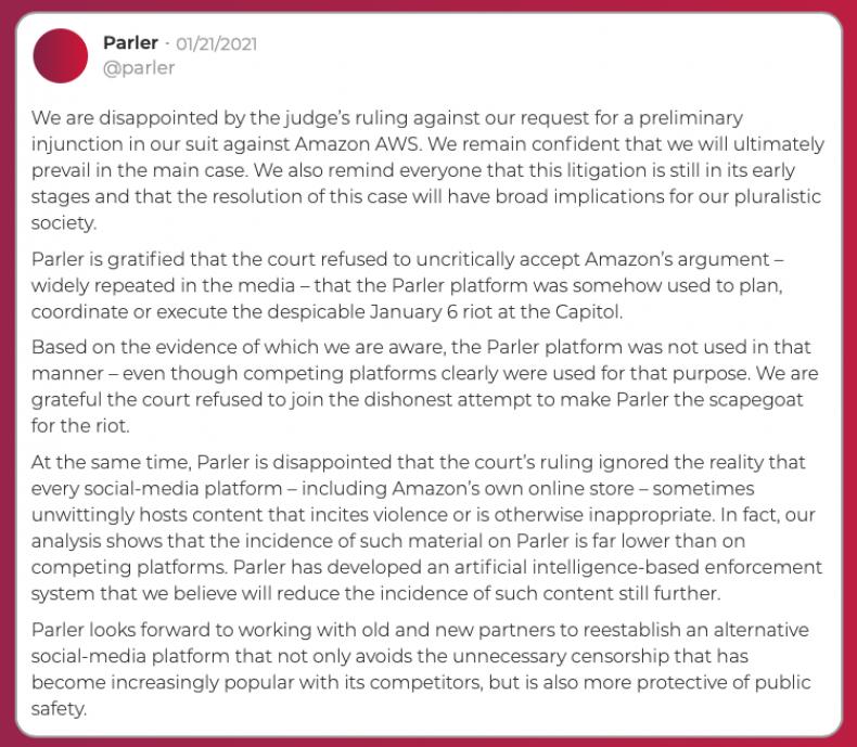 Parler statement