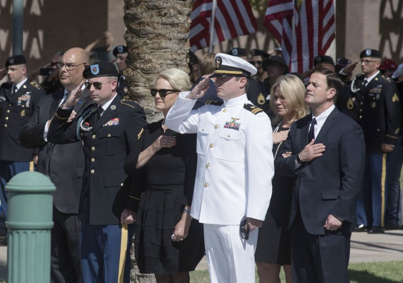 Cindy McCain and Doug Ducey at funeral