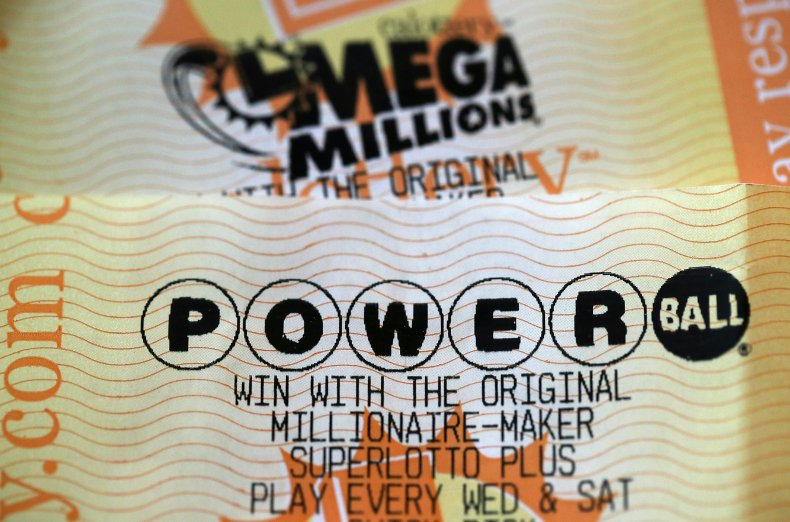 Powerball ticket on display