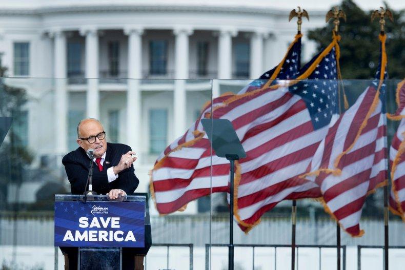 Rudy Giuliani speaks at rally