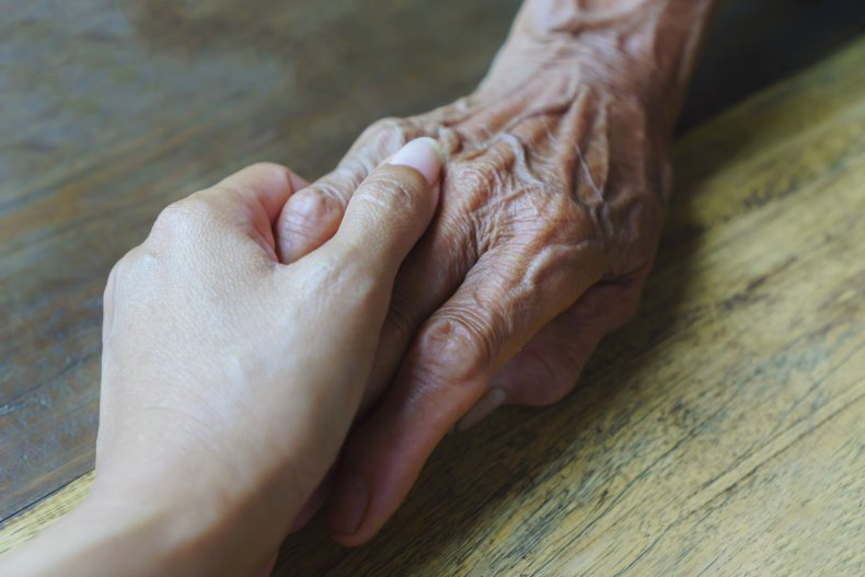 Holding Old Hands Elderly Pensioner Family Support