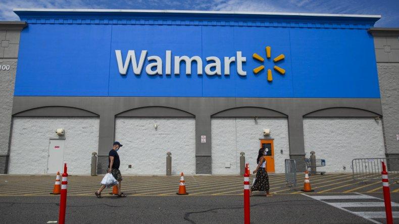 An exterior view of Walmart store
