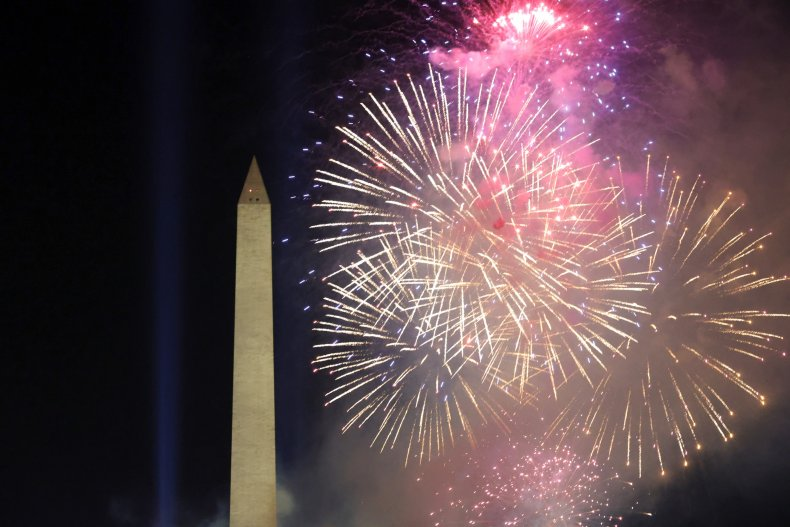 Fireworks explode near the Washington Monument