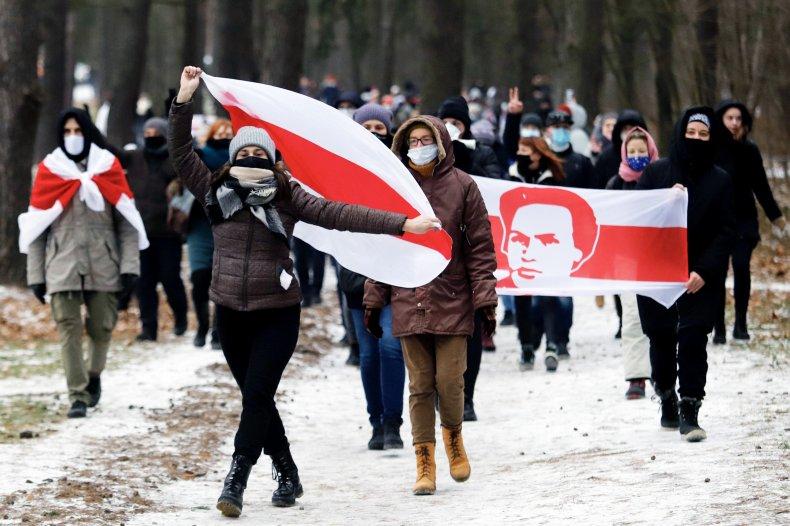 Belarus activists march against Lukashenko in Minsk