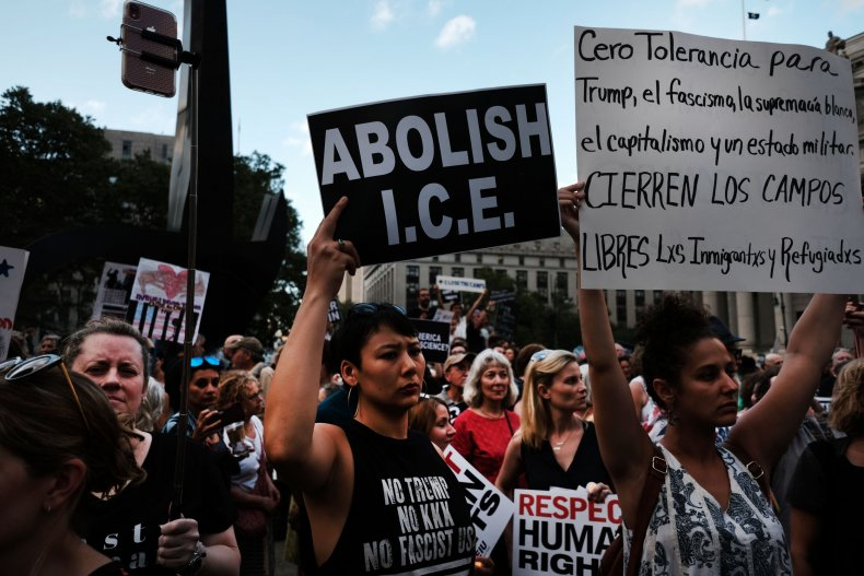 Hundreds of people gather to protest ICE