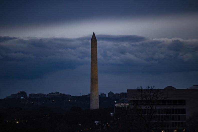 Washington Monument seen at dusk