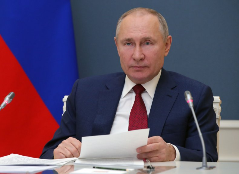 Vladimir Putin pictured in Moscow for WEF