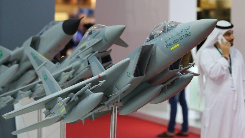 Saudi fighter jet models at UAE airshow