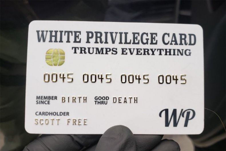 White privilege mock credit card