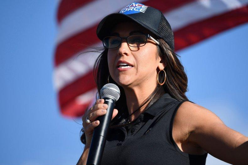 Lauren Boebert addresses supporters in Colorado