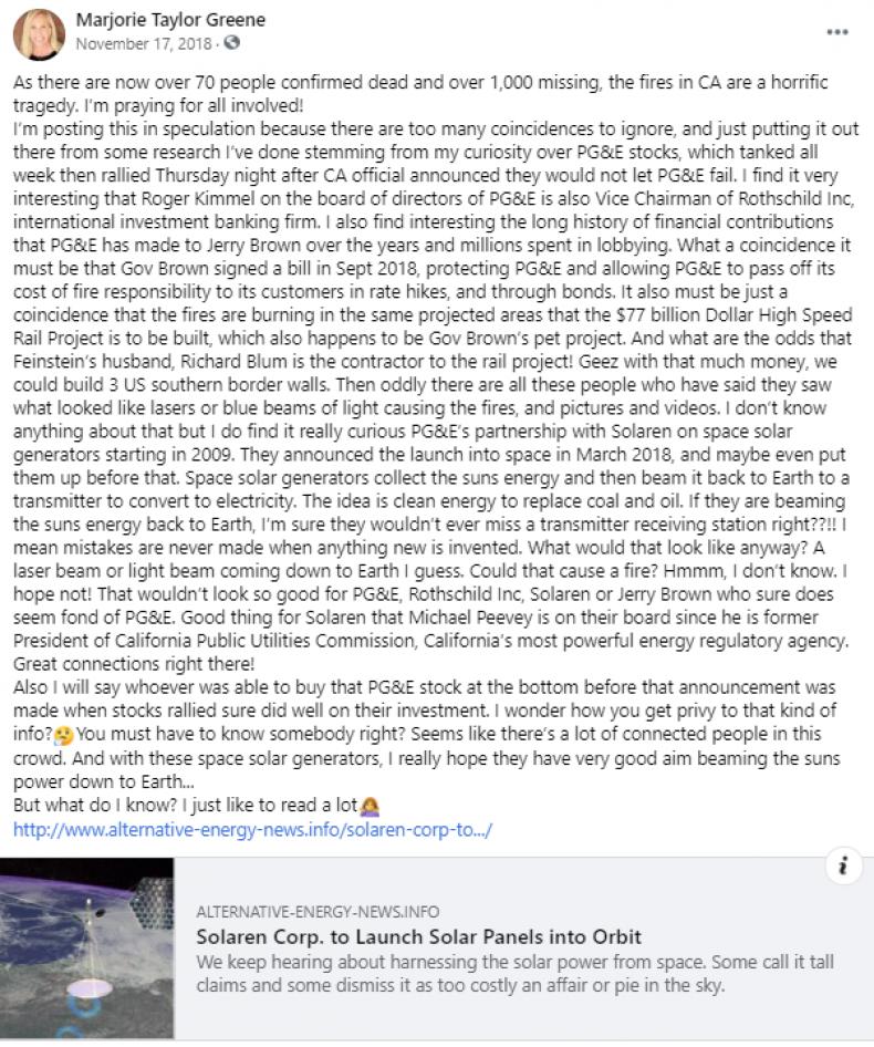Marjorie Taylor Green Facebook post