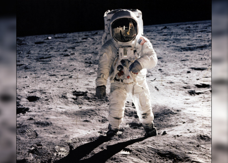 First man sets foot on the moon