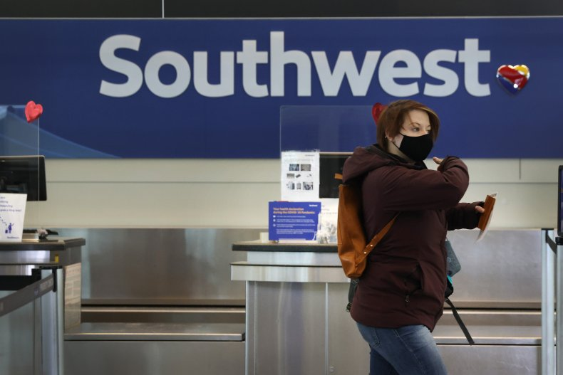 Passengers Check in for Southwest Airlines Flights