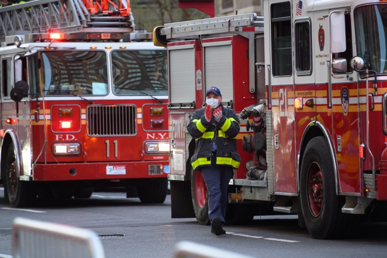 NYC fire engine pictured amid coronavirus pandemic