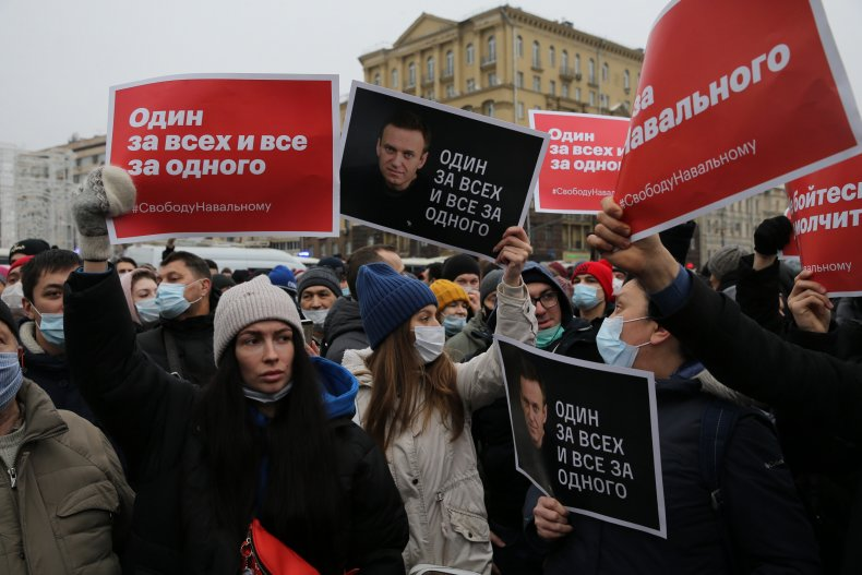 Moscow pro-Navalny anti-Kremlin Protesters at Protests