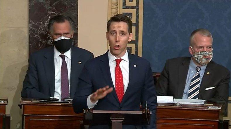 Sen. Josh Hawley Speaks During a Debate