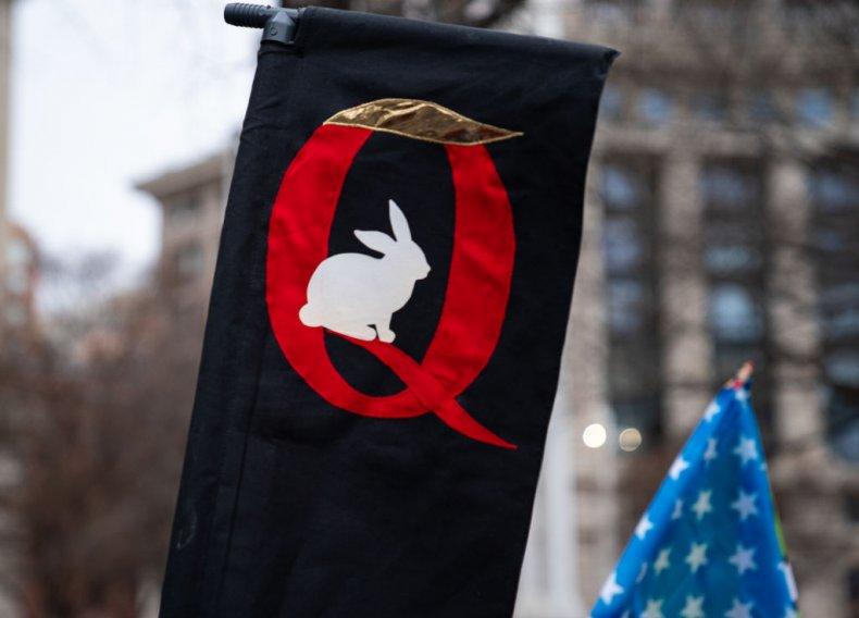 QAnon sign at Trump rally