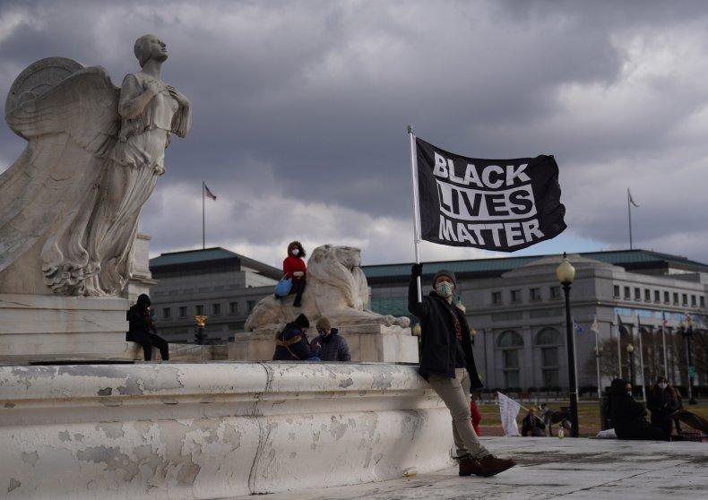 A Black Lives Matter protester outside Capitol