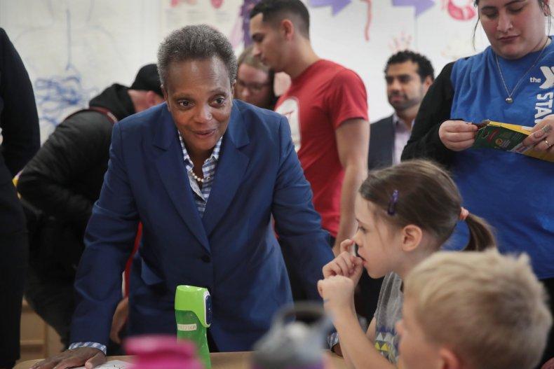 Chicago Mayor Lori Lightfoot Visits with Children