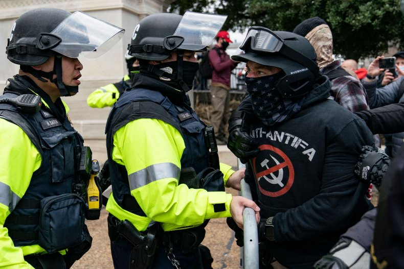 A protester outside the U.S. Capitol