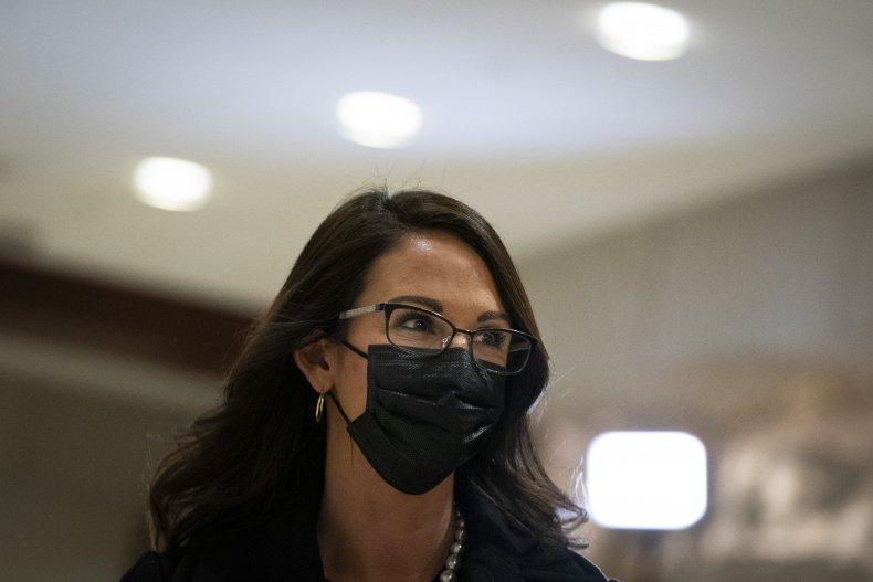 Lauren Boebert arrives at House GOP meeting