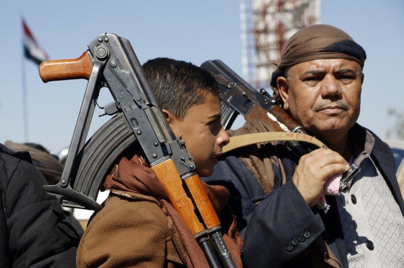 Houthi supporters gather in Sanaa Yemen war