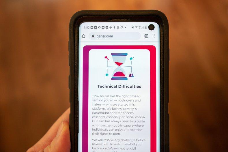 Mobile device showing Parler website
