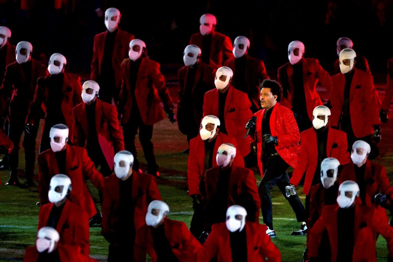 The Weeknd performs at the Super Bowl