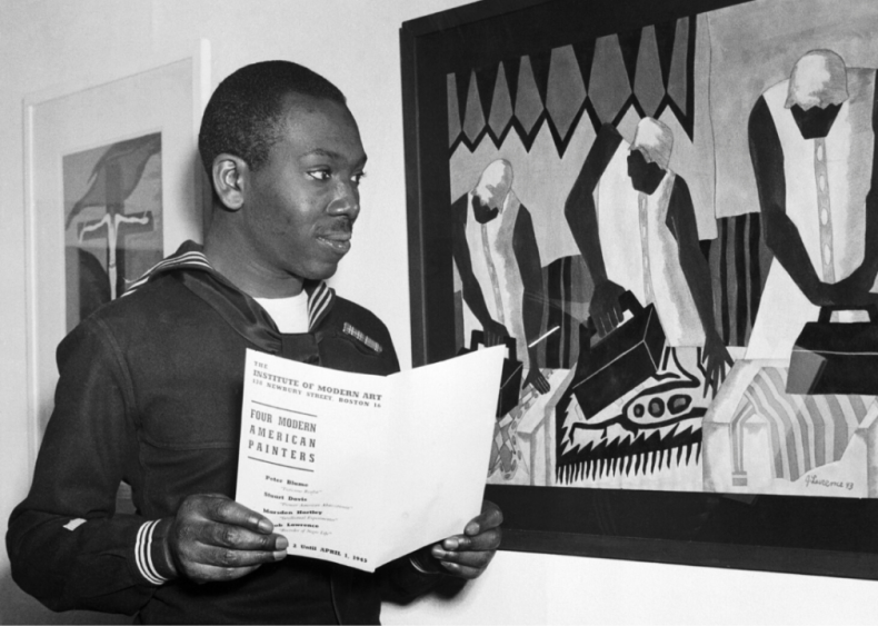1938: Artist Jacob Lawrence shows his first exhibition