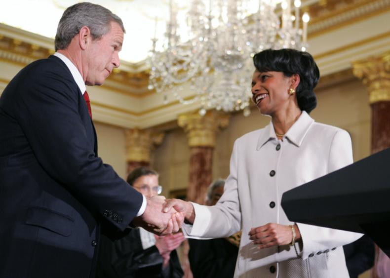 2005: Condoleezza Rice becomes U.S. secretary of state