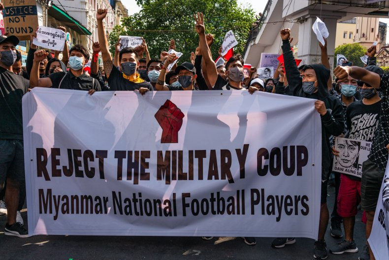 myanmar coup protests demonstrations military